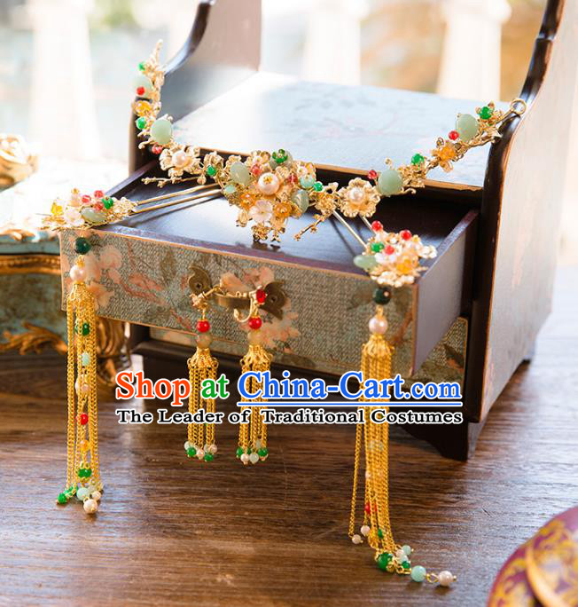 Aisan Chinese Handmade Classical Hair Accessories Golden Step Shake Coronet Complete Set, China Xiuhe Suit Tassel Hairpins Wedding Headwear for Women