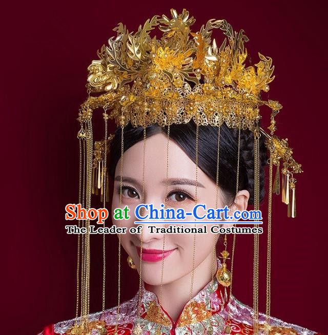 Aisan Chinese Handmade Classical Hair Accessories Phoenix Coronet Complete Set, China Xiuhe Suit Tassel Step Shake Hairpins Wedding Headwear for Women