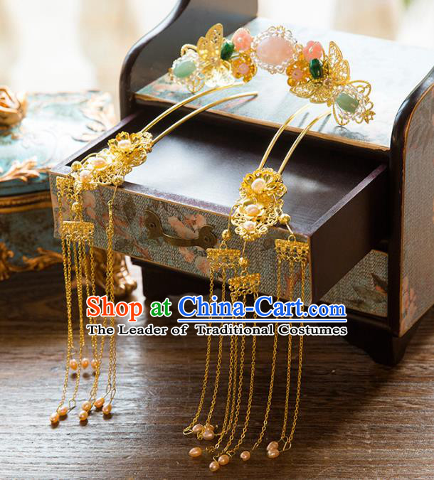 Aisan Chinese Handmade Classical Hair Accessories Jade Hair Comb Complete Set, China Xiuhe Suit Tassel Step Shake Hairpins Wedding Headwear for Women