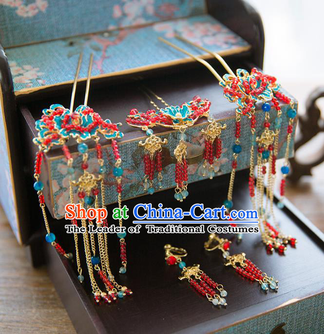 Aisan Chinese Handmade Classical Bride Hair Accessories Complete Set, China Xiuhe Suit Red Beads Tassel Hairpins Wedding Headwear for Women