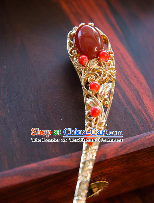 Aisan Chinese Handmade Classical Hanfu Jewelry Accessories Red Hair Clip, China Xiuhe Suit Hairpins Wedding Headwear for Women