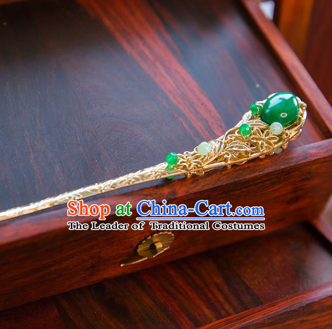 Aisan Chinese Handmade Classical Hanfu Jewelry Accessories Green Hair Clip, China Xiuhe Suit Hairpins Wedding Headwear for Women