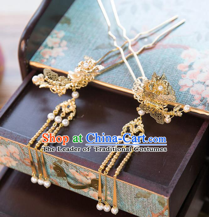 Aisan Chinese Handmade Classical Hair Accessories Tassel Butterfly Step Shake, China Xiuhe Suit Hairpins Wedding Headwear for Women