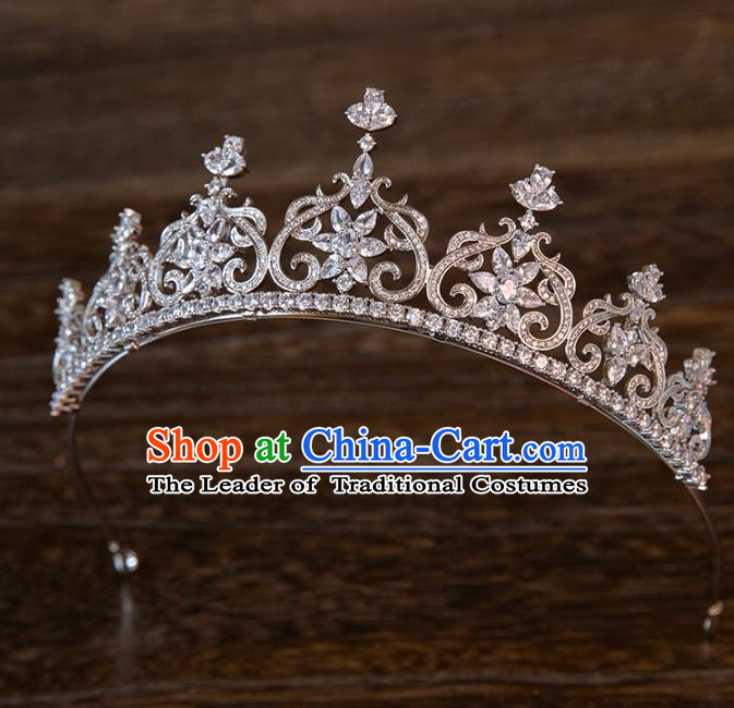 Top Grade Handmade Classical Hair Accessories Baroque Style Princess Crystal Royal Crown Zircon Hair Clasp Headwear for Women