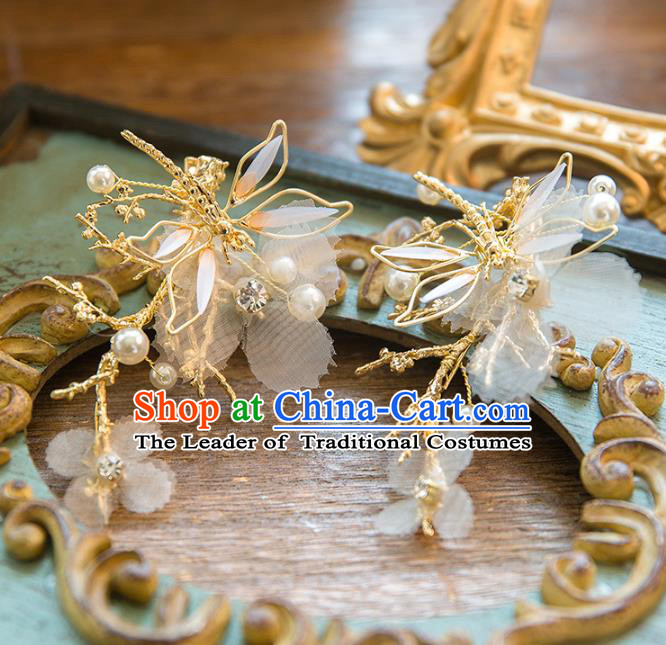 Top Grade Handmade Classical Hair Accessories Baroque Style Princess Golden Dragonfly Hair Stick Headwear for Women
