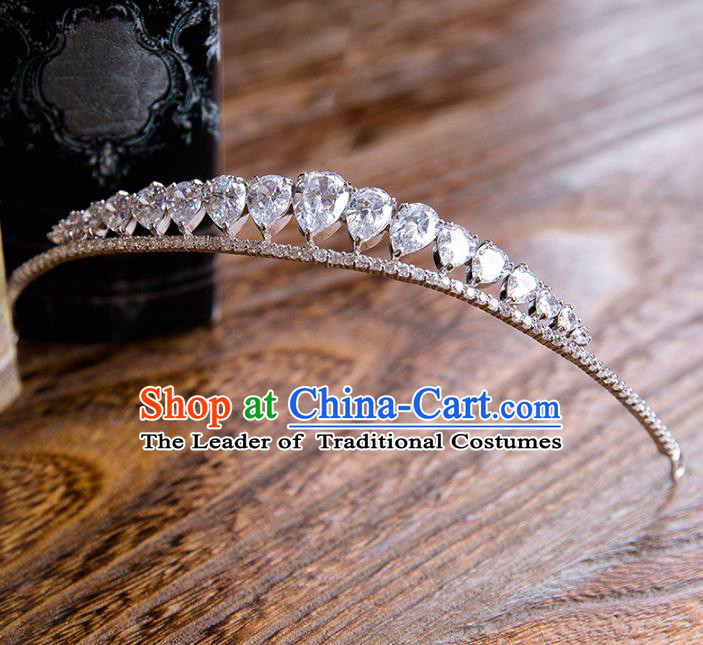 Top Grade Handmade Classical Hair Accessories Baroque Royal Crown, Princess Zircon Hair Clasp for Women