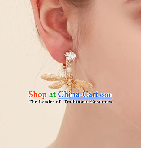 Top Grade Handmade Classical Jewelry Accessories Wedding Earrings Bride Golden Dragonfly Eardrop Women