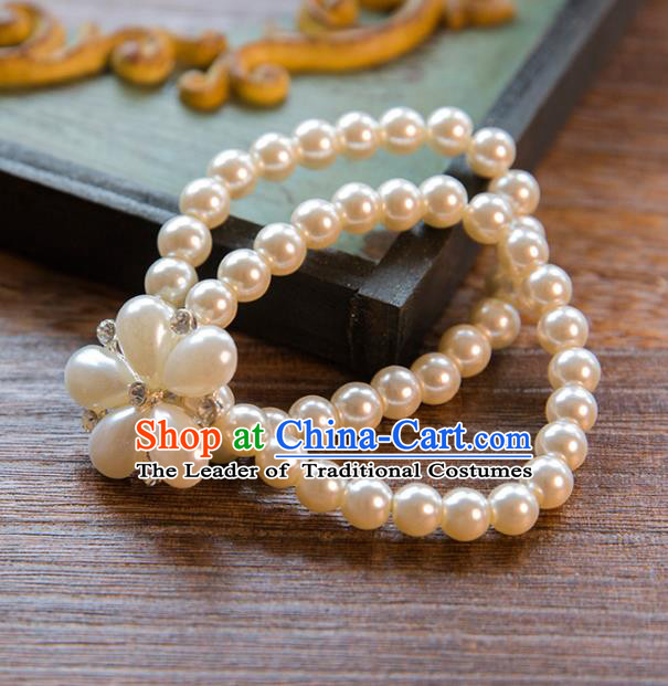 Top Grade Handmade Classical Jewelry Accessories Wedding Pearls Bracelets Bride Pearls Chain Bracelet for Women