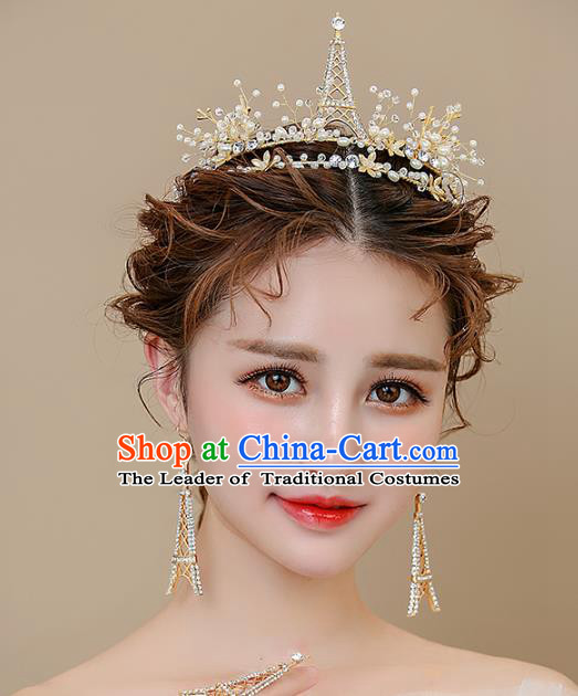 Top Grade Handmade Classical Hair Accessories Baroque Style Princess Crystal Tower Royal Crown Hair Clasp and Earrings Headwear for Women
