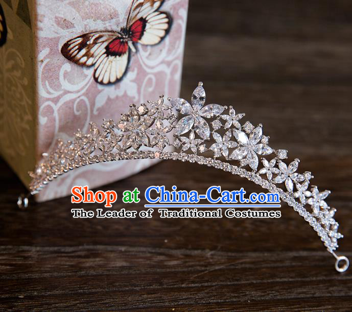 Top Grade Handmade Classical Hair Accessories Baroque Style Princess Crystal Flowers Royal Crown Hair Clasp Headwear for Women