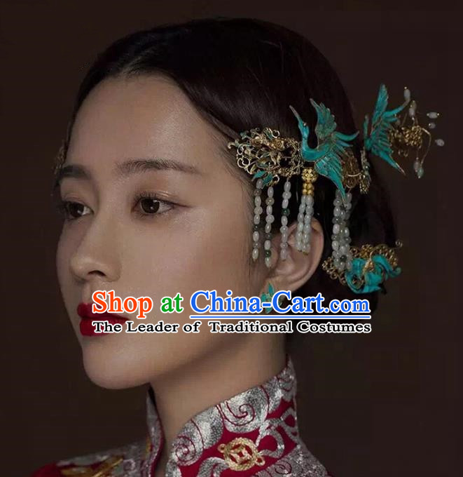 Aisan Chinese Handmade Classical Hair Accessories Hanfu Blueing Phoenix Step Shake, China Xiuhe Suit Tassel Hairpins Wedding Headwear for Women