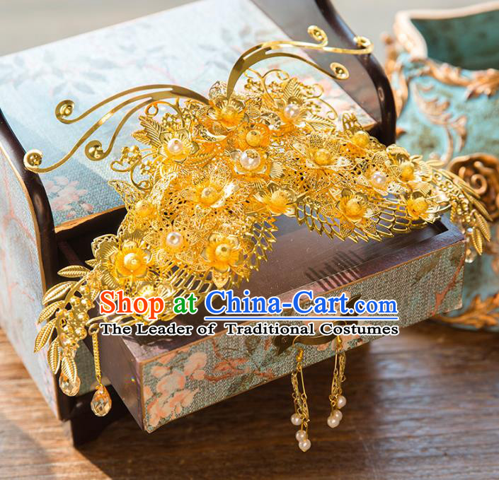Aisan Chinese Handmade Classical Hair Accessories Golden Phoenix Coronet, China Xiuhe Suit Hairpins Wedding Headwear for Women