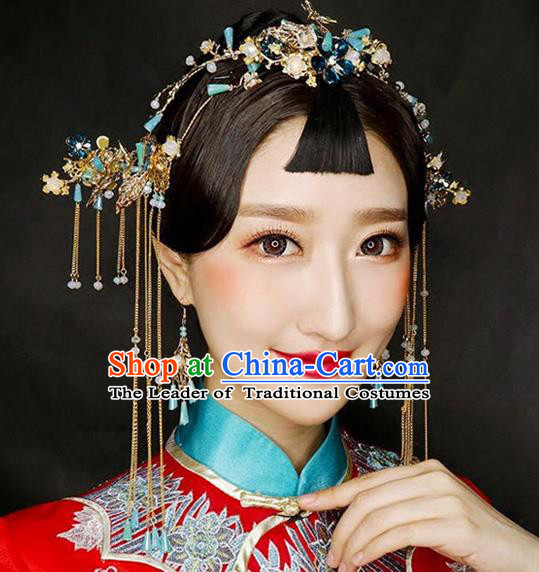 Aisan Chinese Handmade Classical Hair Accessories Blue Beads Phoenix Coronet Complete Set, China Xiuhe Suit Hairpins Wedding Headwear for Women