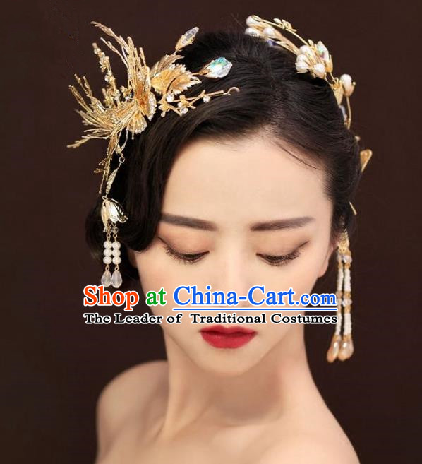 Aisan Chinese Handmade Classical Hair Accessories, China Xiuhe Suit Tassel Hair Stick Hairpins Wedding Headwear for Women