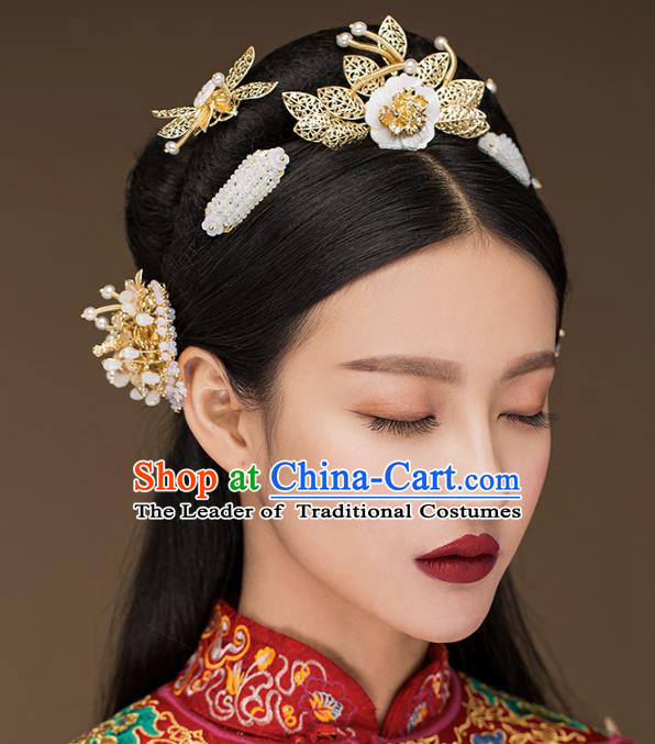 Aisan Chinese Handmade Classical Hair Accessories Hair Comb Complete Set, China Xiuhe Suit Hairpins Wedding Headwear for Women