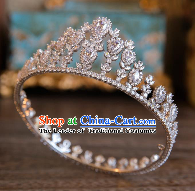 Top Grade Handmade Classical Hair Accessories Baroque Style Princess Crystal Hair Clasp Round Zircon Royal Crown Headwear for Women