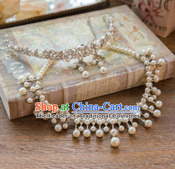 Top Grade Handmade Classical Hair Accessories Baroque Style Princess Crystal Pearls Hair Stick and Necklace Earrings Headwear for Women