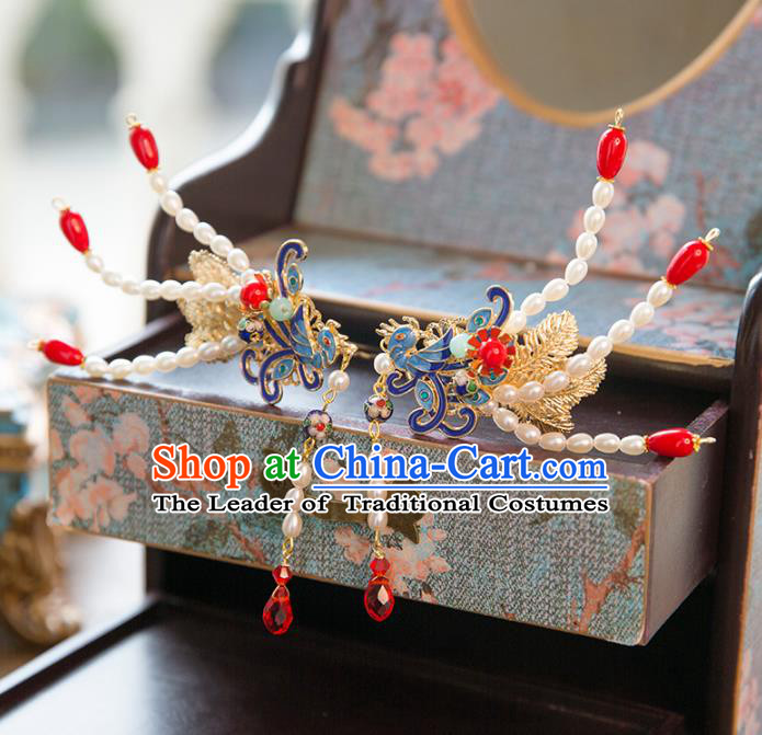 Aisan Chinese Handmade Classical Hair Accessories Pearls Phoenix Step Shake, China Xiuhe Suit Hairpins Wedding Headwear for Women