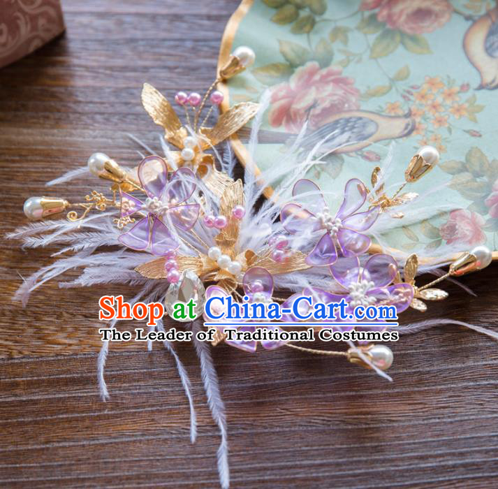 Top Grade Handmade Classical Hair Accessories Baroque Style Princess Purple Flowers Feather Hair Stick Headwear for Women
