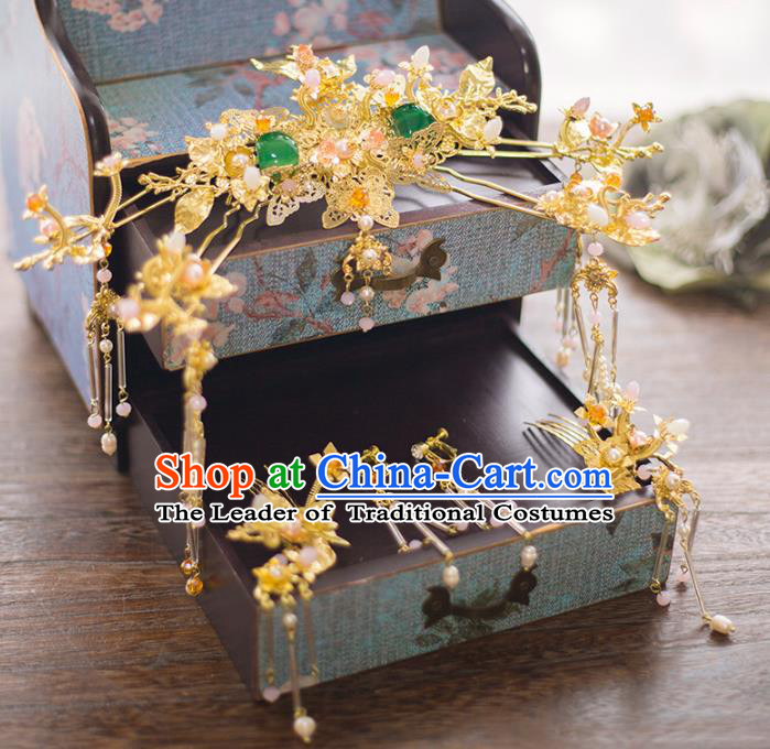Aisan Chinese Handmade Classical Hair Accessories Jade Phoenix Coronet Complete Set, China Xiuhe Suit Hairpins Wedding Headwear for Women
