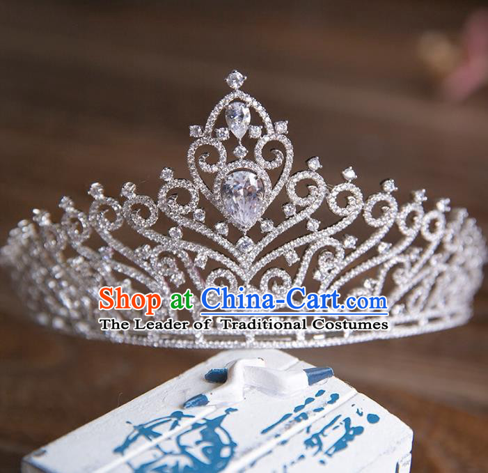 Top Grade Handmade Classical Hair Accessories Royal Crown, Baroque Style Princess Crystal Hair Clasp Headwear for Women