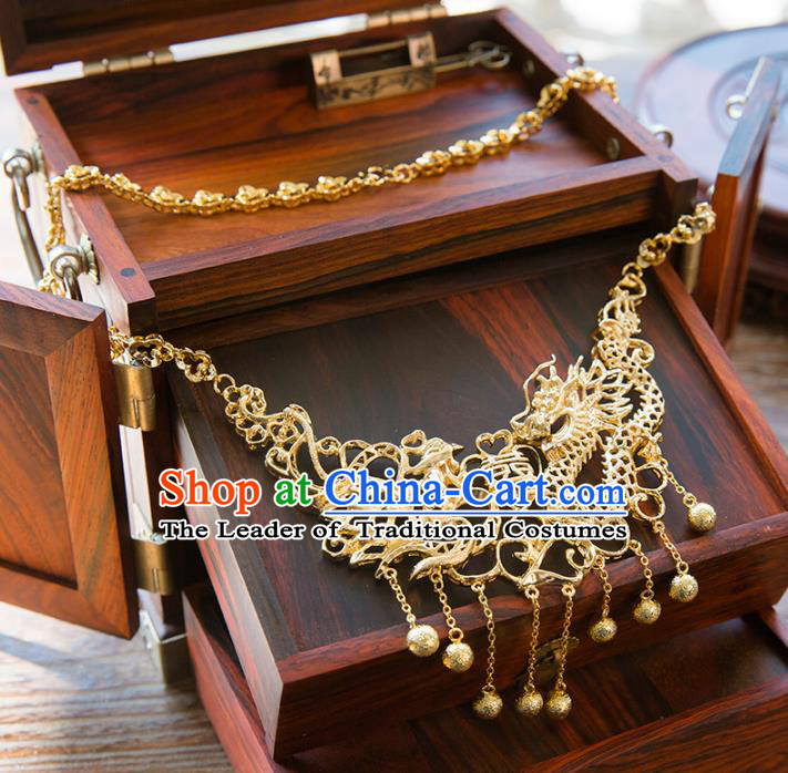 Aisan Chinese Handmade Classical Jewelry Accessories Golden Dragon and Phoenix Necklace, China Xiuhe Suit Golden Tassel Necklet for Women