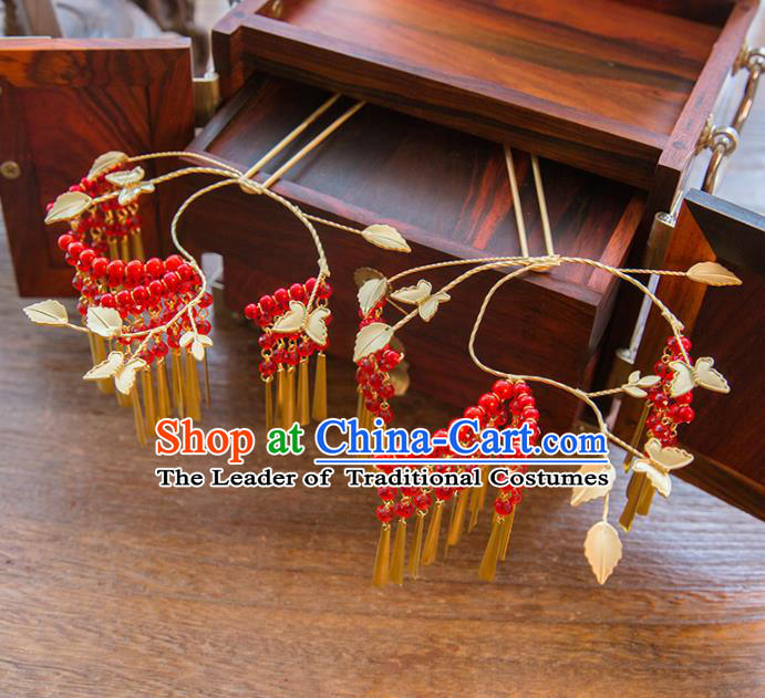 Aisan Chinese Handmade Classical Hair Accessories Red Tassel Step Shake, China Xiuhe Suit Hairpins Wedding Headwear for Women