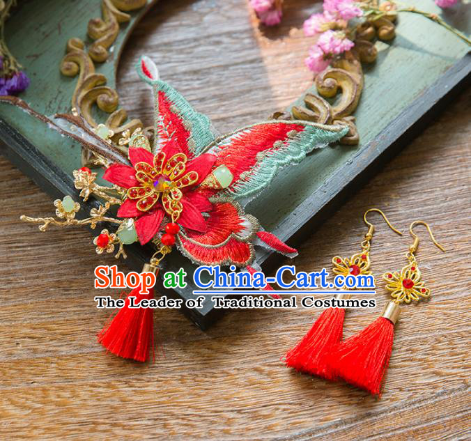 Aisan Chinese Handmade Classical Hair Accessories Red Butterfly Hair Stick and Earrings, China Xiuhe Suit Hairpins Wedding Headwear for Women