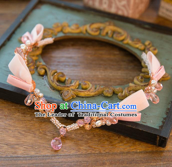 Top Grade Handmade Classical Hair Accessories Baroque Style Princess Crystal Forehead Ornament Pink Headband Headwear for Women
