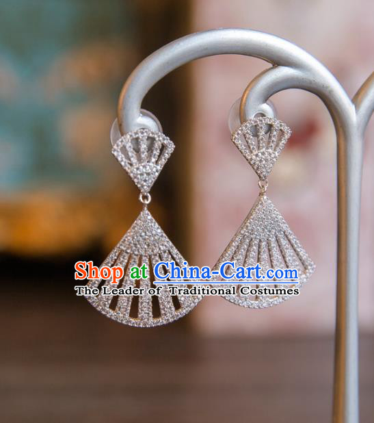 Top Grade Handmade Classical Accessories Baroque Style Princess Crystal Earrings Zircon Eardrop Headwear for Women