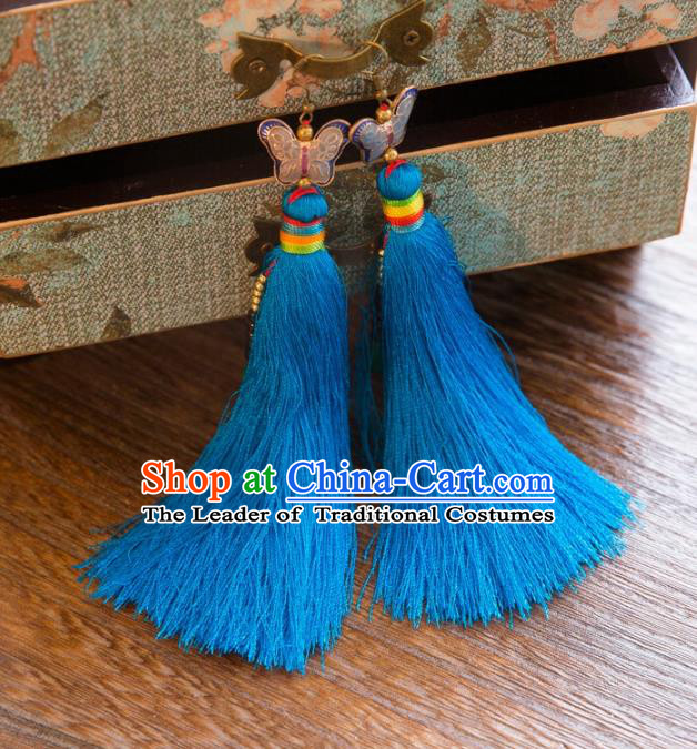 Chinese Handmade Classical Embroidery Butterfly Earrings, China Xiuhe Suit Wedding Light Blue Tassel Eardrop for Women