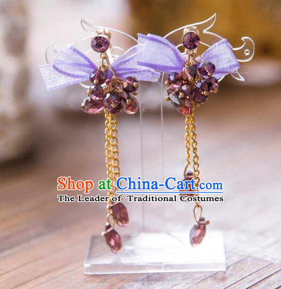 Top Grade Handmade Classical Jewelry Accessories, Baroque Style Princess Purple Crystal Tassel Earrings Headwear for Women
