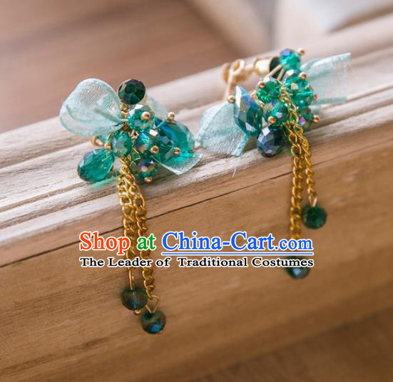 Top Grade Handmade Classical Jewelry Accessories Eardrop, Baroque Style Princess Green Crystal Tassel Earrings Headwear for Women