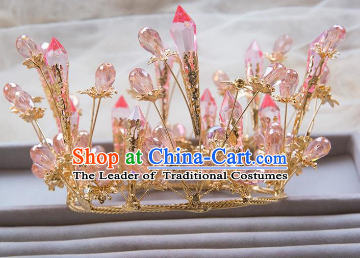 Top Grade Handmade Classical Hair Jewelry Accessories Royal Crown, Baroque Style Princess Pink Crystal Headwear for Women