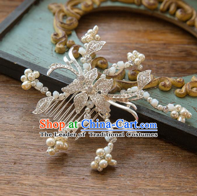 Top Grade Handmade Classical Hair Jewelry Accessories Hair Comb, Baroque Style Princess Crystal Headwear for Women