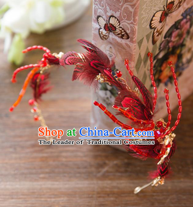 Top Grade Handmade Classical Hair Accessories Baroque Style Princess Red Feather Hair Clasp Headwear for Women