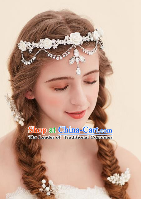 Top Grade Handmade Classical Hair Accessories Forehead Ornament, Baroque Style Princess Crystal Hair Clasp Headwear for Women