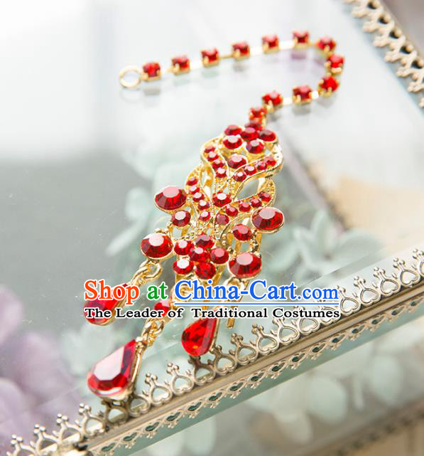 Aisan Chinese Handmade Classical Accessories Hanfu Red Crystal Earrings Wedding Headwear for Women