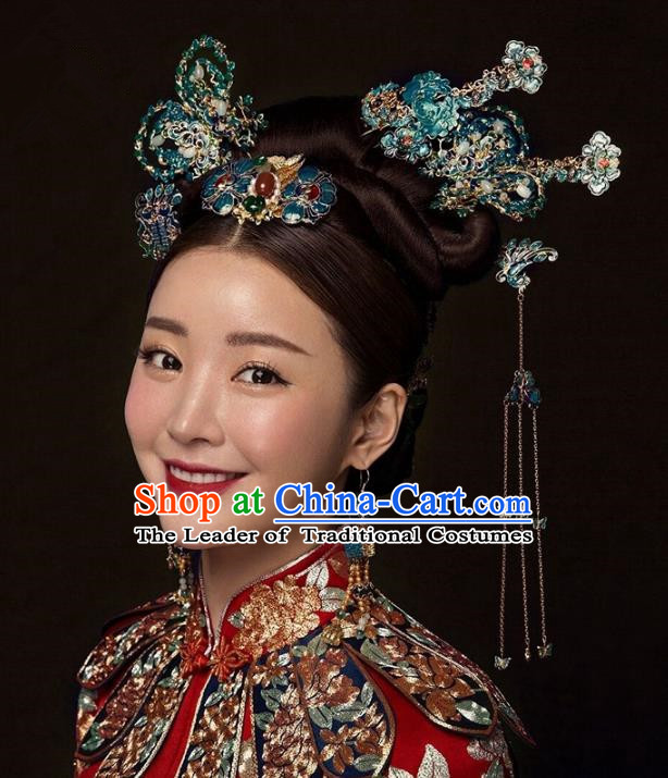 Chinese Handmade Classical Hair Accessories Cloisonne Butterfly Step Shake Complete Set, China Xiuhe Suit Tassel Hairpins Wedding Headwear for Women
