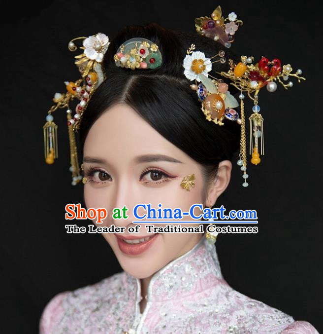Chinese Handmade Classical Hair Accessories Jade Step Shake Complete Set, China Xiuhe Suit Tassel Hairpins Hair Comb Wedding Headwear for Women