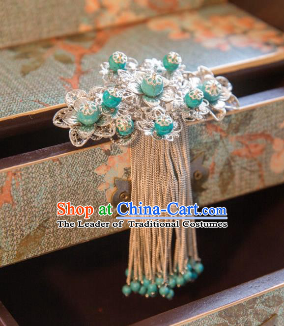 Chinese Handmade Classical Hair Accessories Green Tassel Back Hair Comb, China Xiuhe Suit Hairpins Wedding Headwear for Women