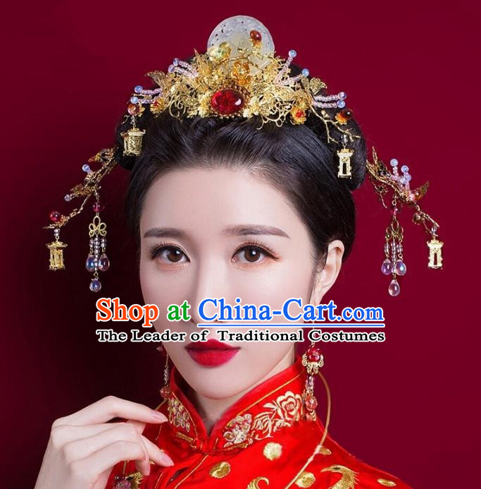 Chinese Handmade Classical Hair Accessories Complete Set Jade Phoenix Coronet, China Xiuhe Suit Hairpins Wedding Headwear for Women