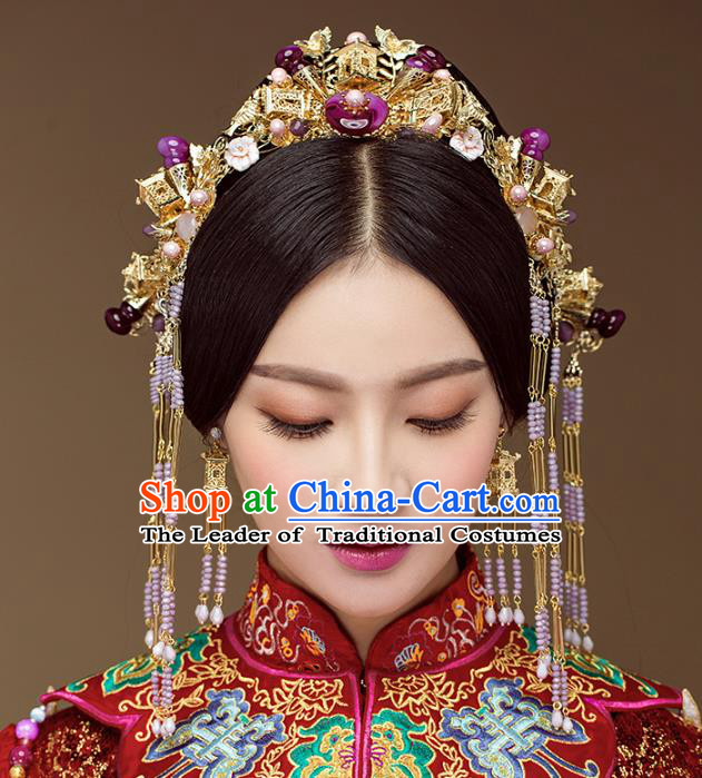 Chinese Handmade Classical Hair Accessories Complete Set Purple Jade Phoenix Coronet, China Xiuhe Suit Hairpins Wedding Headwear for Women