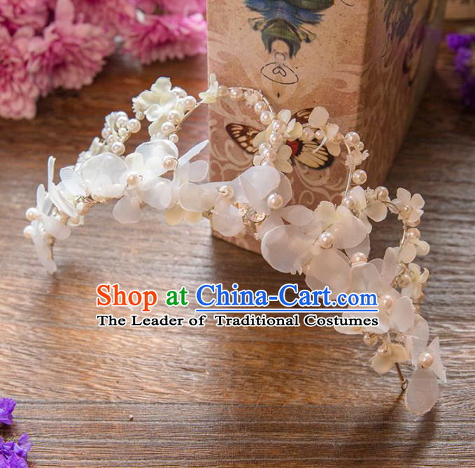 Top Grade Handmade Classical Hair Accessories White Flowers Royal Crown, Baroque Style Princess Pearls Headwear for Women