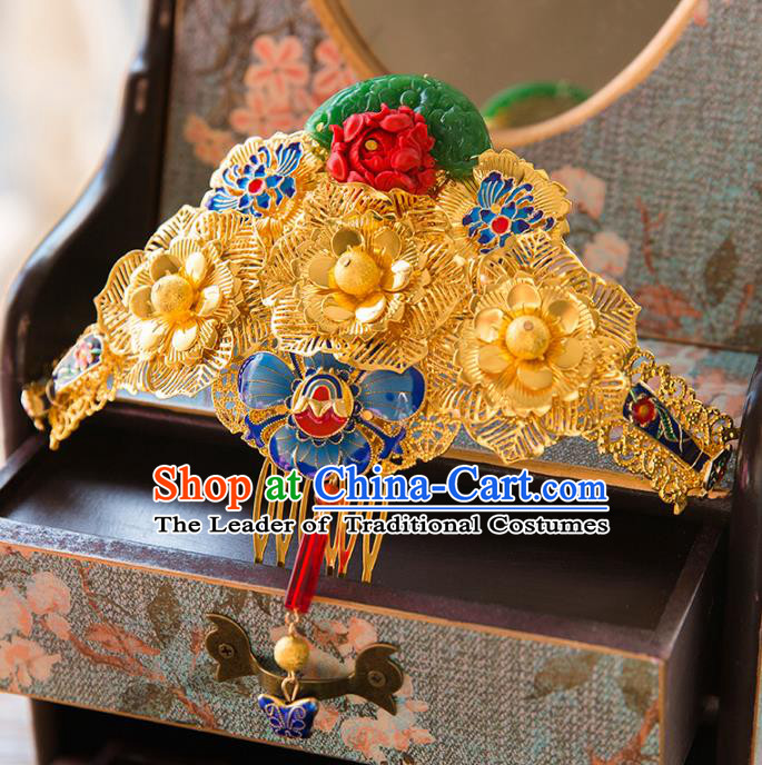 Chinese Handmade Classical Hair Accessories Golden Phoenix Coronet, China Xiuhe Suit Hairpins Hair Comb Wedding Headwear for Women