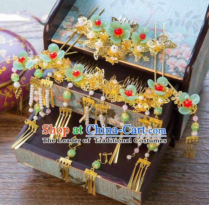 Aisan Chinese Handmade Classical Hair Accessories Green Flowers Phoenix Coronet Complete Set, China Xiuhe Suit Hairpins Wedding Headwear for Women