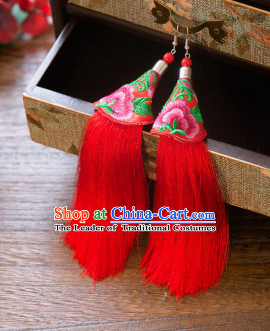 Top Grade Handmade Classical Hair Accessories Chinese Hanfu Red Tassel Earrings, China Ancient Princess Embroidery Eardrop for Women