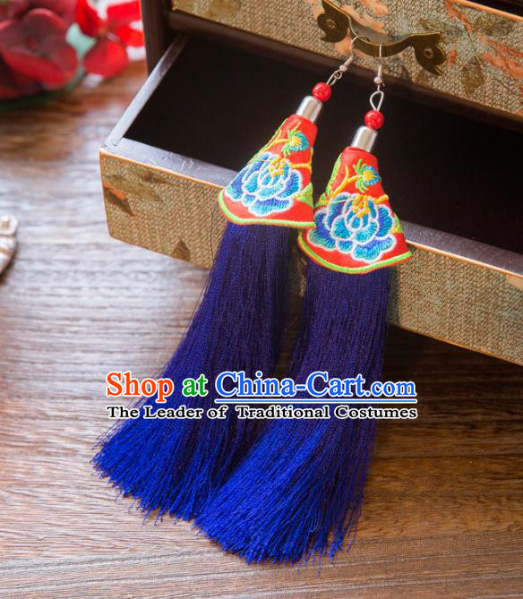 Top Grade Handmade Classical Hair Accessories Chinese Hanfu Royalblue Tassel Earrings, China Ancient Princess Embroidery Eardrop for Women