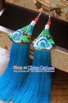 Top Grade Handmade Classical Hair Accessories Chinese Hanfu Blue Tassel Earrings, China Ancient Princess Embroidery Eardrop for Women