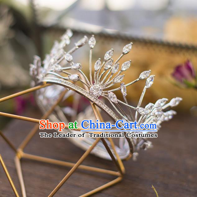 Top Grade Handmade Classical Hair Accessories Baroque Style Princess Crystal Royal Crown Round Hair Clasp Headwear for Women